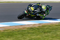 © Licensed to London News Pictures. 19/10/2012. Cal Crutchlow (GBR) riding for the Monster Yamaha Tech 3 during the Qualifying day of the round 16 2013 Tissot Australian Moto GP at the  Phillip Island Grand Prix Circuit Victoria, Australia. Photo credit : Asanka Brendon Ratnayake/LNP