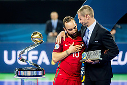 Aleksander Ceferin, president of UEFA and Ricardinho during medal ceremony after the Final match of UEFA Futsal EURO 2018, on February 10, 2018 in Arena Stozice, Ljubljana, Slovenia. Photo by Ziga Zupan / Sportida