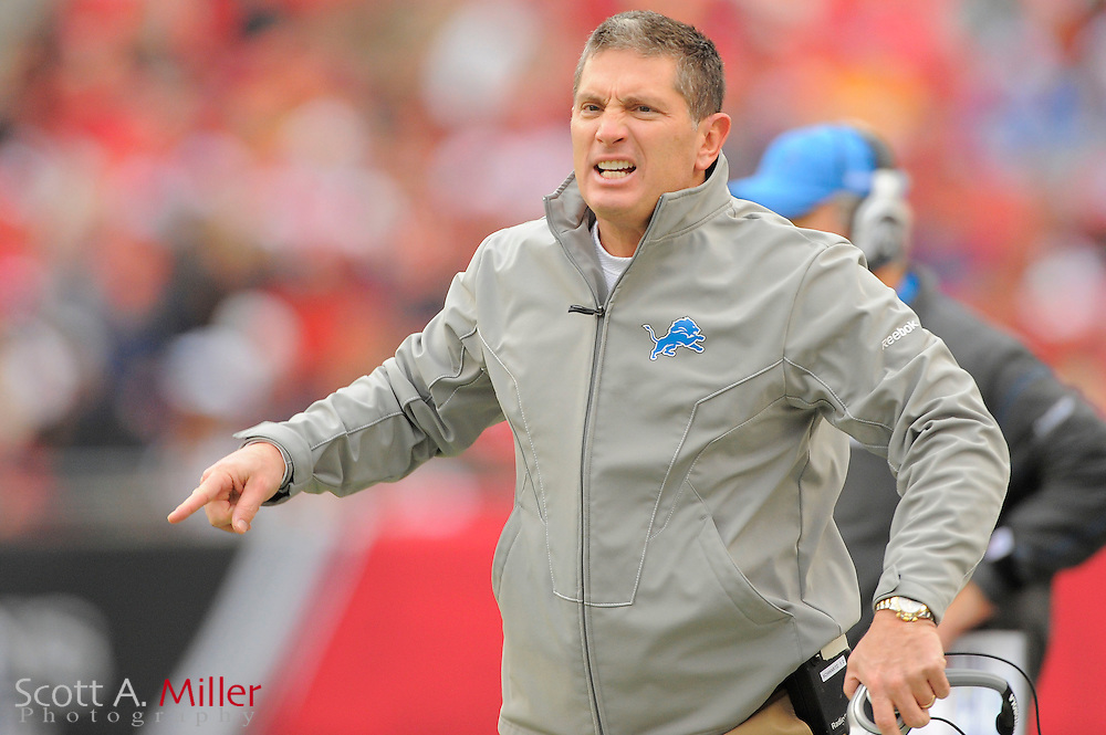 Detroit Lions head coach Jim Schwartz yells during the Lions game against the Tampa Bay Buccaneers at Raymond James Stadium on Dec. 19, 2010 in Tampa, Florida. The Lions won 23-20 in over time...©2010 Scott A. Miller