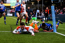 Nick David of Worcester Warriors scores a try - Mandatory by-line: Robbie Stephenson/JMP - 15/02/2020 - RUGBY - Sixways Stadium - Worcester, England - Worcester Warriors v Bath Rugby - Gallagher Premiership Rugby