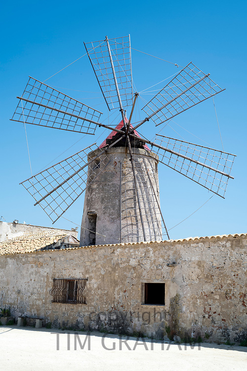 Saline di Trapani e Paceco and Museo del Sale (Museum of Salt) with windmill at Nubia, Paceco, Sicily, Italy