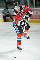 KELOWNA, CANADA, OCTOBER 20:  Mitchell Chapman #5 of the Kelowna Rockets warms up on the ice as  the Vancouver Giants visited the Kelowna Rockets on October 20, 2011 at Prospera Place in Kelowna, British Columbia, Canada (Photo by Marissa Baecker/shootthebreeze.ca) *** Local Caption *** Mitchell Chapman;