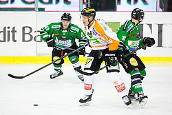 06.01.2015, Hala Tivoli, Ljubljana, SLO, EBEL, HDD Telemach Olimpija vs Moser Medical Graz 99ers, 36. Runde, in picture Rok Leber (HDD Telemach Olimpija, #18) vs Anders Bastiansen (Moser Medical Graz 99ers, #11) during the Erste Bank Icehockey League 36. Round between HDD Telemach Olimpija and Moser Medical Graz 99ers at the Hala Tivoli, Ljubljana, Slovenia on 2015/01/06. Photo by Matic Klansek Velej / Sportida