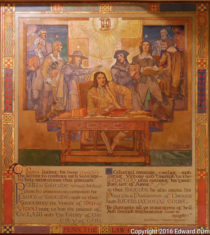 "Violet Oakley's painting  ""Penn, the Law-giver"" in the Supreme Court chamber of the Pennsylvania capitol in Harrisburg."