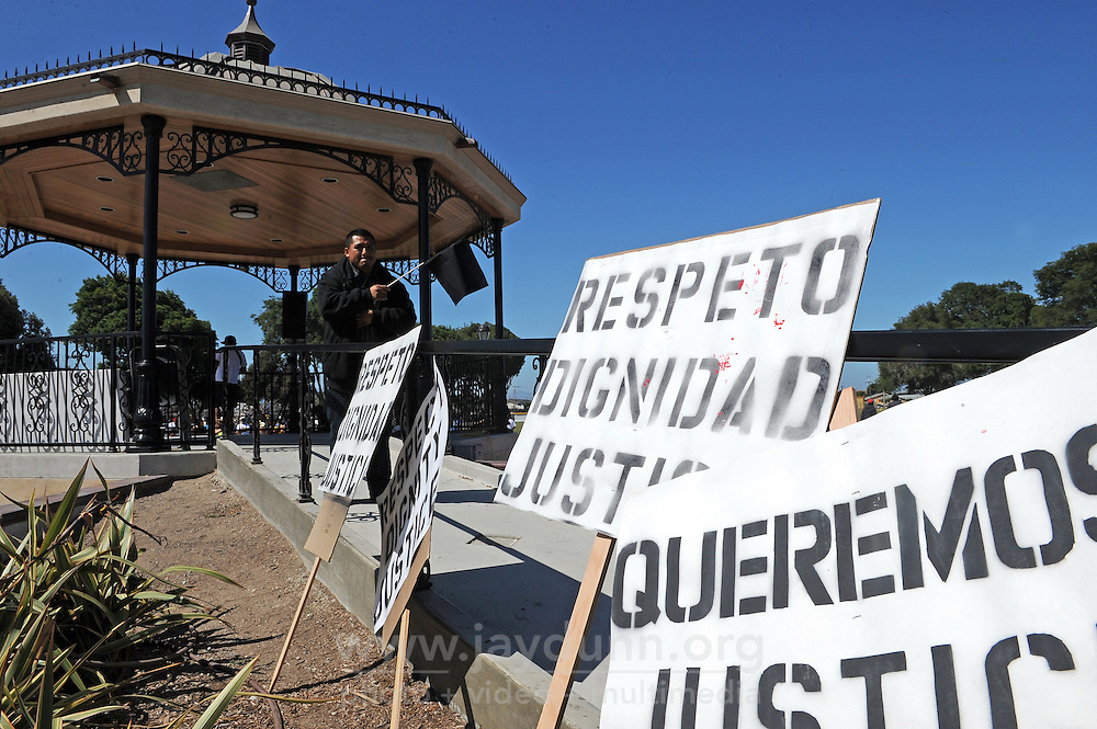 "Hundreds of marchers from the community filled east Salinas on Sunday with cries for ""Respect, Dignity, and Justice."" The well-organized, peaceful protest started in Closter Park, seen here, and paused for prayer at two sites where residents have been killed recently in recent officer-involved shootings."