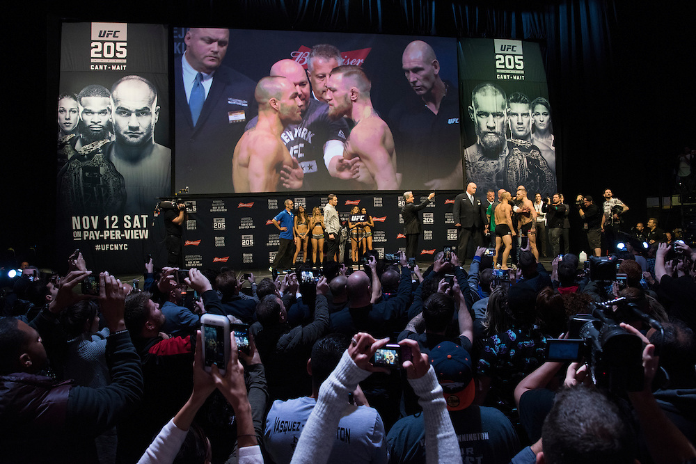 Eddie Alvarez and Conor McGregor face off during the UFC 205 weigh-ins at Madison Square Garden in New York, New York on November 11, 2016.  (Cooper Neill for The Players Tribune)