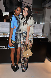 Left to right, TOLULA ADEYEMI and GRACE WOODWARD at the unveiling of the Helena Christensen and Swarovski Crystallized Unsigned Model search winners held at Swarovski Crystallized, 24 Great Marlborough Street, London on 26th January 2012.