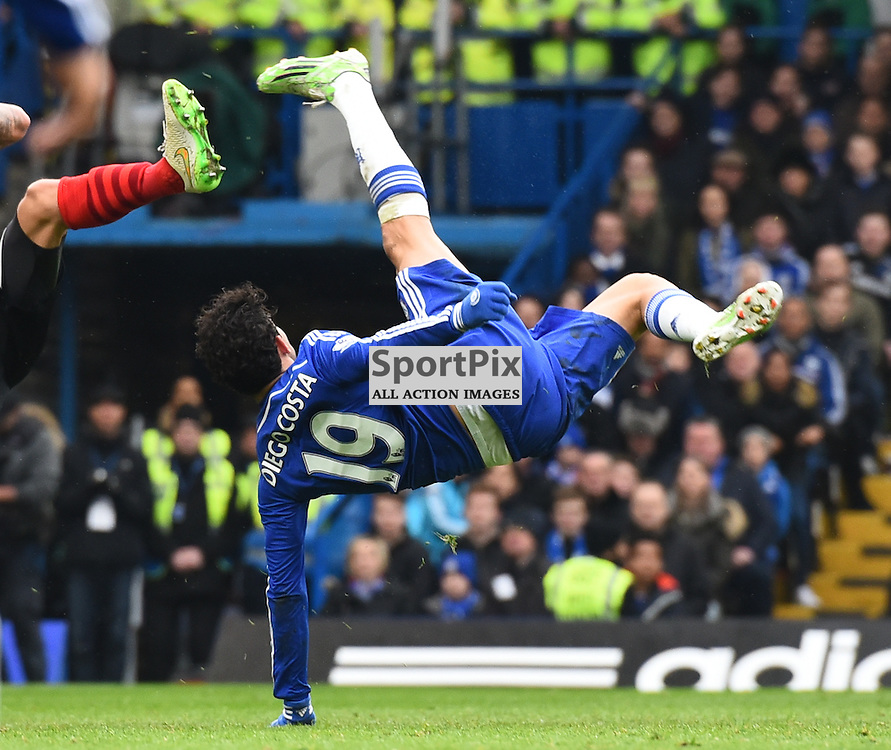 Diego Costa of Chelsea takes a shot at goal with a bicycle kick during Chelsea v Southampton, Barclays Premier League, 15 December 2015 at Stamford Bridge Stadium, London, England (c) Salvio Calabrese | SportPixPix.org.uk