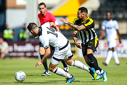 Kane Hemmings of Notts County takes on Jamie Hanson of Derby County - Mandatory by-line: Robbie Stephenson/JMP - 14/07/2018 - FOOTBALL - Meadow Lane - Nottingham, England - Notts County v Derby County - Pre-season friendly