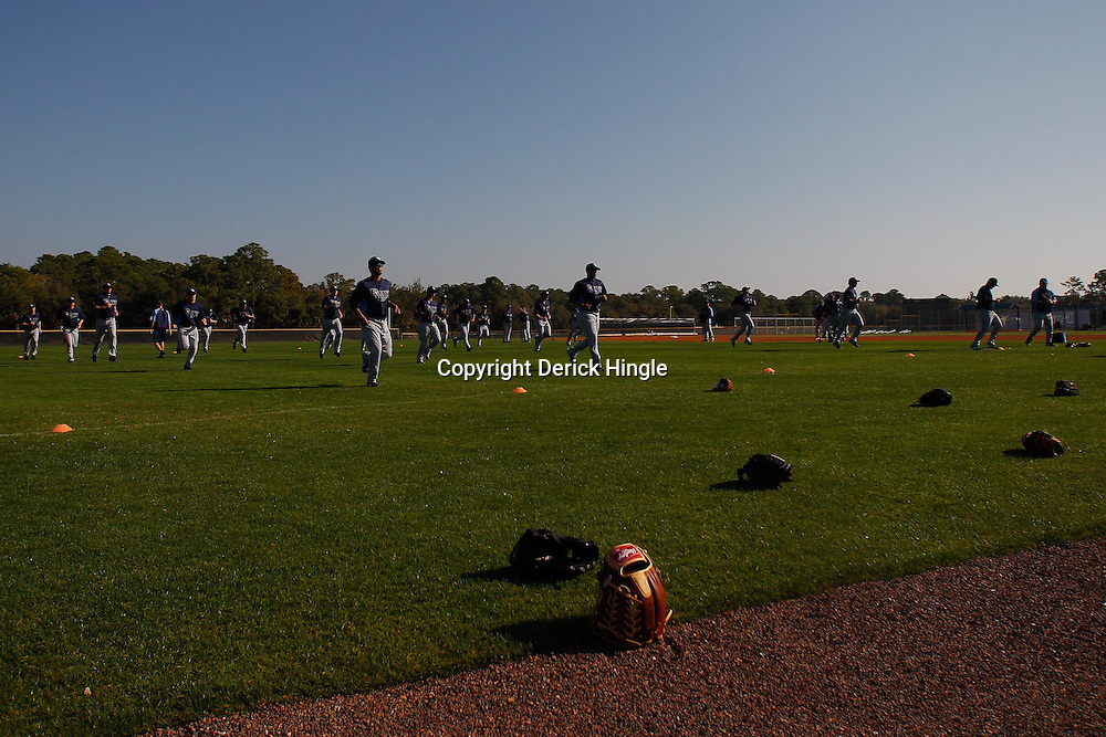 February 20, 2011; Port Charlotte, FL, USA; Tampa Bay Rays pitchers run during a spring training practice at Charlotte Sports Park.  Mandatory Credit: Derick E. Hingle