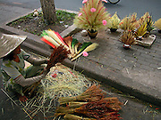 Vietnam, Ho Chi Min City: preparing decoration with flowers on the street.