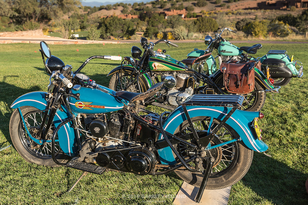Two Harleys and an Indian, in the early morning sunlight at the 2012 Santa Fe Concorso.