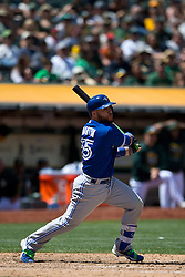 OAKLAND, CA - JULY 23:  Russell Martin #55 of the Toronto Blue Jays at bat against the Oakland Athletics during the eighth inning at O.co Coliseum on July 23, 2015 in Oakland, California. The Toronto Blue Jays defeated the Oakland Athletics 5-2. (Photo by Jason O. Watson/Getty Images) *** Local Caption *** Russell Martin