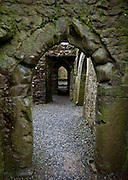 Looking through doorway in Quin Abbey, Ireland