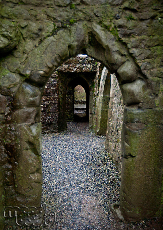 Looking through doorway in Quin Abbey, Ireland