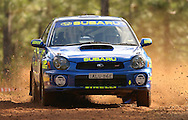 Dean Herridge & Glenn MacNeall .Subaru Impreza WRX.2003 Falken Rally of Queensland.Imbul State Forest, QLD.13th-15th of June 2003 .(C) Joel Strickland Photographics