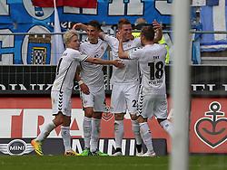 Football: Germany, 2. Bundesliga, FC St. Pauli Hamburg - VfL Bochum, Hamburg - 17.05.2015,<br /> Marc Rzatkowski (FC St. Pauli) , Philipp Ziereis (FC St. Pauli) , Marcel Halstenberg (FC St. Pauli) und Lennart Thy (FC St. Pauli) zum Tor zum 2:1<br /> <br /> &copy; pixathlon<br /> <br /> +++ NED out !!! +++