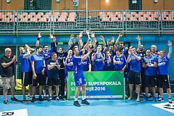 Winning team Celje celebrate during handball match between RK Celje Pivovarna Lasko and RD Koper 2013 of Super Cup 2016, on August 27, 2016 in SRC Marina, Portoroz / Portorose, Slovenia. Photo by Matic Klansek Velej / Sportida
