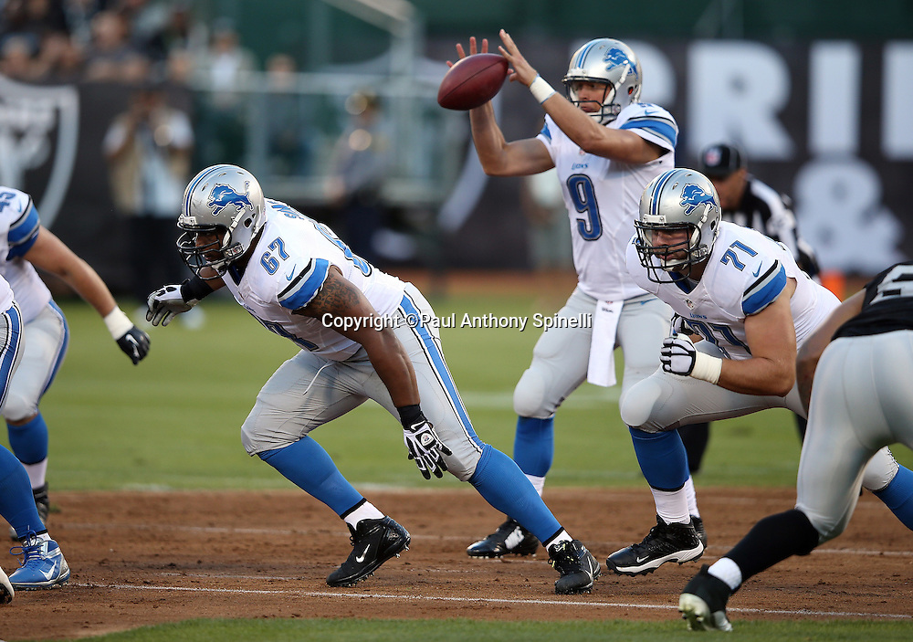 Detroit Lions guard Rob Sims (67) blocks as the ball is snapped during the 2014 NFL preseason football game against the Oakland Raiders on Friday, Aug. 15, 2014 in Oakland, Calif. The Raiders won the game 27-26. ©Paul Anthony Spinelli