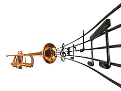 brass cornet at slight angle with a curved music score blowing out the horn on white background