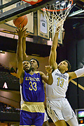 Alcorn State Braves forward Devon Brewer (33) shoots against Vanderbilt Commodores forward Clevon Brown (15) and Commodores forward Matthew Moyer (13) during the first half of a NCAA college basketball game in Nashville, Tenn., Friday, Nov 16, 2018. (Jim Brown/Image of Sport)