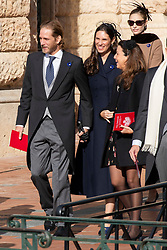 Tatiana Santo Domingo, Andrea Casiraghi are leaving the St. Nicholas Cathedral to attend the solemn mass during the National Day ceremonies. Monaco on november 19, 2018. Photo by ABACAPRESS.COM