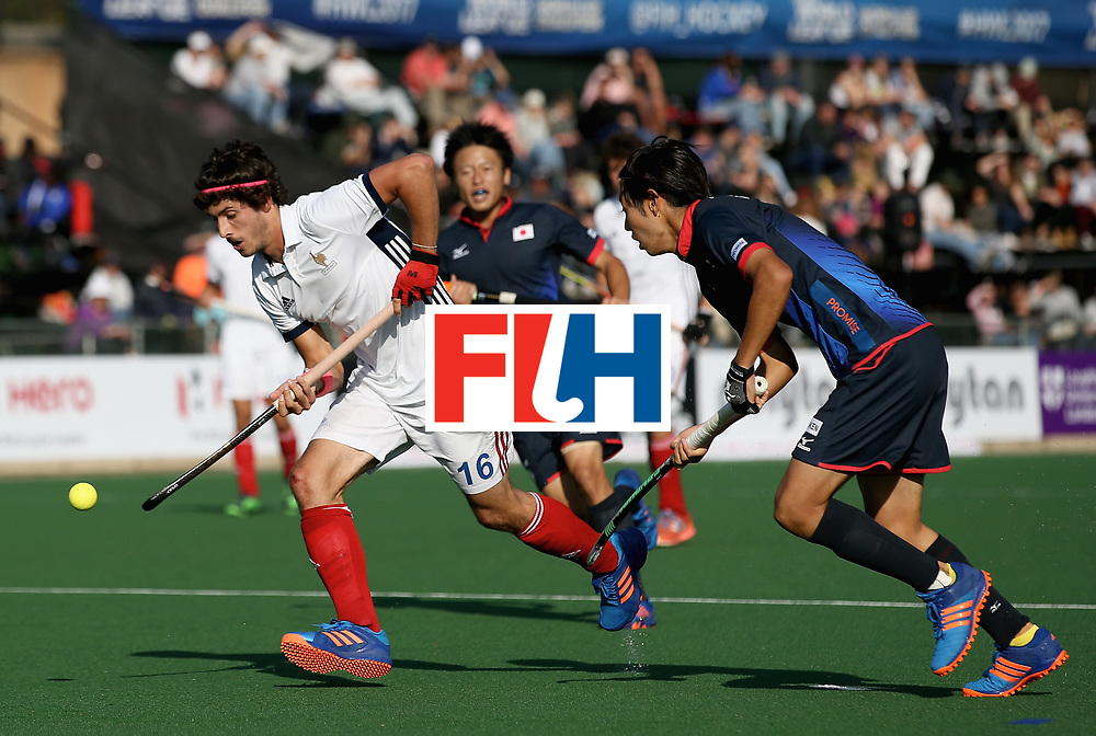JOHANNESBURG, SOUTH AFRICA - JULY 13: Francois Goyet of France controls the ball under pressure from Genki Mitani of Japan during day 3 of the FIH Hockey World League Semi Finals Pool A match between Japan and France at Wits University on July 13, 2017 in Johannesburg, South Africa. (Photo by Jan Kruger/Getty Images for FIH)