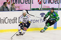 13.09.2015, Hala Tivoli, Ljubljana, SLO, EBEL, HDD Telemach Olimpija Ljubljana vs EC VSV, 2. Runde, in picture Markus Schacher (EC VSV, #23) and Guillaume Desbiens (HDD Telemach Olimpija, #12) during the Erste Bank Icehockey League 2. Round between HDD Telemach Olimpija Ljubljana and EC VSV at the Hala Tivoli, Ljubljana, Slovenia on 2015/09/13. Photo by Urban Urbanc / Sportida