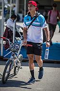 Men Elite #595 (MOLINA Gonzalo) ARG arriving on race day at the 2018 UCI BMX World Championships in Baku, Azerbaijan.