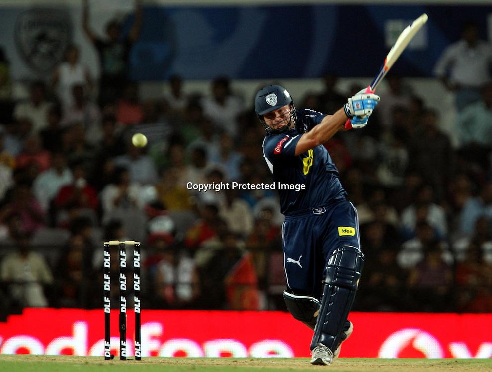 Deccan Chargers Batsman Ryan Harris Hit The Shot During The Indian Premier League - 46th match Twenty20 match | 2009/10 season Played at Vidarbha Cricket Association Stadium, Jamtha, Nagpur 12 April 2010 - day/night (20-over match)