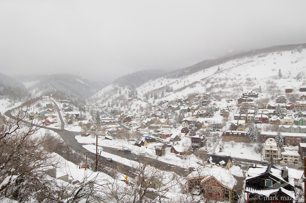snowy winter day overview of southern end of Main Street and Old Town, Park City Utah
