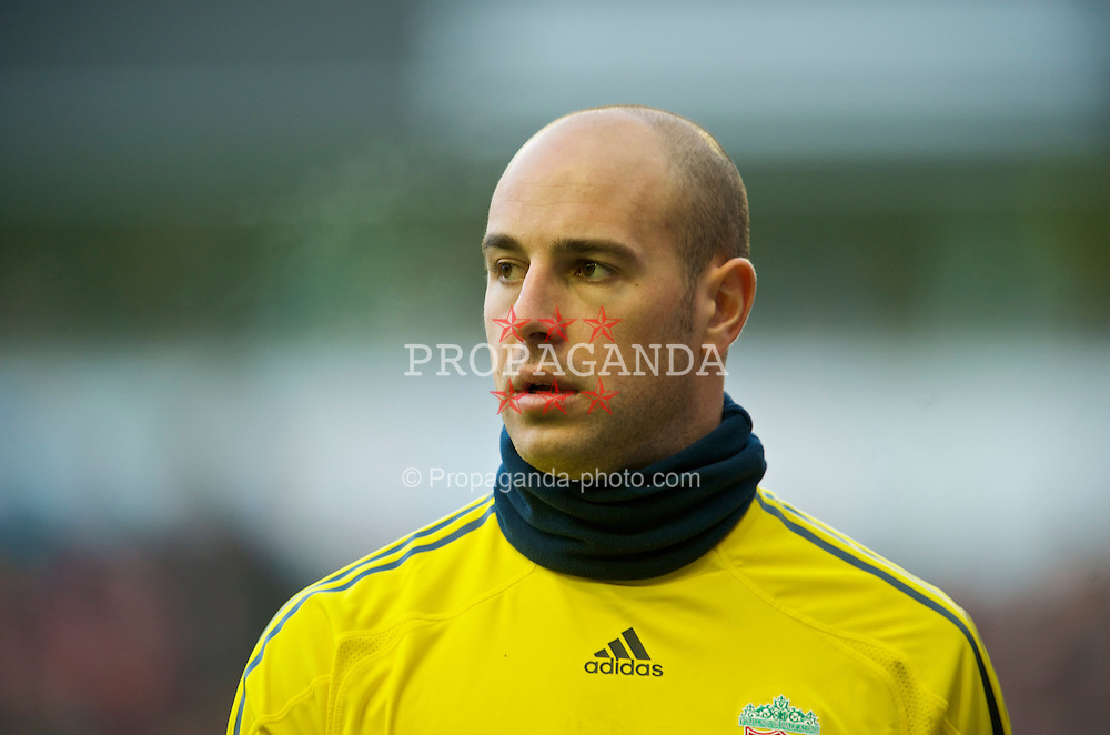 LIVERPOOL, ENGLAND - Saturday, February 6, 2010: Liverpool's goalkeeper Pepe Reina in action against Everton during the Premiership match at Anfield. The 213th Merseyside Derby. (Photo by: David Rawcliffe/Propaganda)