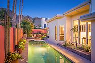 Paradise Valley, Phoenix, AZ pool at twilight for a real estate photo shoot