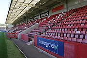 Cheltenham Town FC's stadium before the EFL Sky Bet League 2 match between Cheltenham Town and Swindon Town at Jonny Rocks Stadium, Cheltenham, England on 24 August 2019.