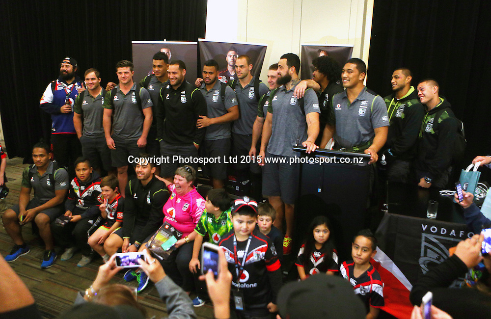 The Warriors after match function at the Novotel, Homebush, Australia. On Saturday 16th May 2015. Photo: Renee McKay/PHOTOSPORT
