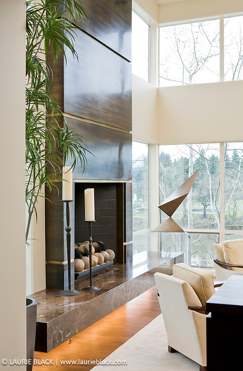 Contemporary fireplace.
