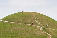 People descending the Krakus Mound in Podgorze Krakow Poland