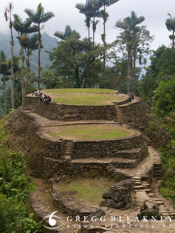 """Ciudad Perdida - Colombia, Tourists and military officials enjoy the ruins of the """"Lost City"""" in the in Sierra Nevada."""