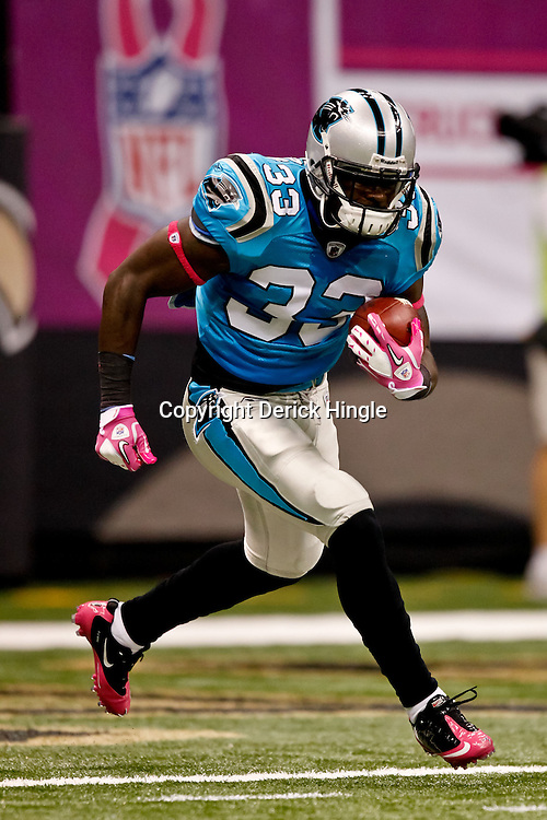 October 3, 2010; New Orleans, LA, USA; Carolina Panthers running back Mike Goodson (33) during warm ups prior to kickoff of a game between the New Orleans Saints and the Carolina Panthers at the Louisiana Superdome. Mandatory Credit: Derick E. Hingle