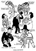 Cinema Sketchbook<br />  ; The Elusive Pimpernel ; Jack Hawkins , David Niven and Margaret Leighton<br /> La Beaute du Diable ; Michel Simon and Gerard Philipe<br /> Two Flags West ; Joseph Cotten<br /> Woman On The Run ;  Ann Sheridan