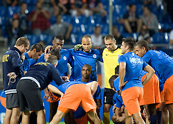 Montpellier players gather together for a team t before the Champions League group match between Montpellier and Arsenal at the Stade la Mosson, Montpellier, France, 18th September 2012. Eoin Mundow/Cleva Media