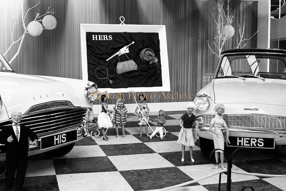 The must-have 'His' and 'Hers' cars of 1961 at the Henry Fords stand at the RDS: a Zodiac for him; an Anglia for her..02.05.1961