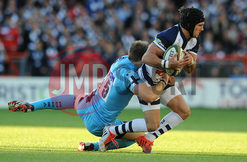 Bristol Fly Half Matthew Morgan is challenged by Worcester Warriors Fullback Ben Howard - Photo mandatory by-line: Dougie Allward/JMP - Mobile: 07966 386802 - 20/05/2015 - SPORT - Rugby - Bristol - Ashton Gate - Bristol Rugby v Worcester Warriors - Greene King IPA Championship - Play-Off Final