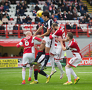 Dundee&rsquo;s Julen Etxabeguren comes close with a first half header - Hamilton v Dundee in the Ladbrokes Scottish Premiership at Superseal stadium, Hamilton. Photo: David Young<br /> <br />  - &copy; David Young - www.davidyoungphoto.co.uk - email: davidyoungphoto@gmail.com