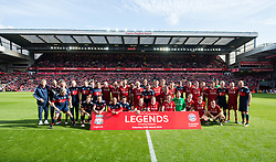 LIVERPOOL, ENGLAND - Saturday, March 24, 2018: Liverpool Legends and FC Bayern Legends line up for a photograph before the LFC Foundation charity match between Liverpool FC Legends and FC Bayern Munich Legends at Anfield. (Pic by Peter Powell/Propaganda)