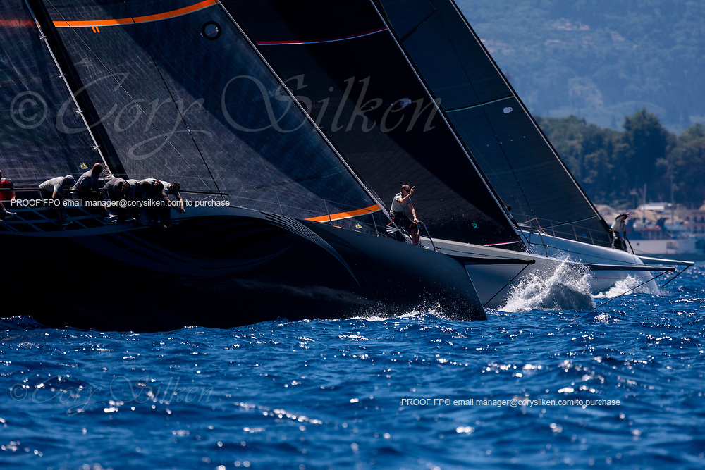 Momo, Cannonball, and Proteus sailing in a practice race at the Corfu Challenge.
