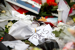 © Licensed to London News Pictures. 17/11/2015. Paris, France. Flowers left at a memorial at Place de la Republique in Paris, France following the Paris terror attacks on Tuesday, 17 November 2015. Photo credit: Tolga Akmen/LNP