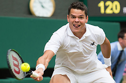 LONDON, ENGLAND - Friday, July 8, 2016:  Milos Raonic (CAN) during the Gentlemen's Singles - Semi-finals match on day twelve of the Wimbledon Lawn Tennis Championships at the All England Lawn Tennis and Croquet Club. (Pic by Kirsten Holst/Propaganda)