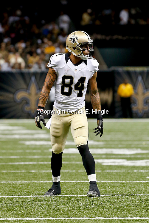 Aug 16, 2013; New Orleans, LA, USA; New Orleans Saints wide receiver Kenny Stills (84) against the Oakland Raiders during the second quarter of a preseason game at the Mercedes-Benz Superdome. Mandatory Credit: Derick E. Hingle-USA TODAY Sports