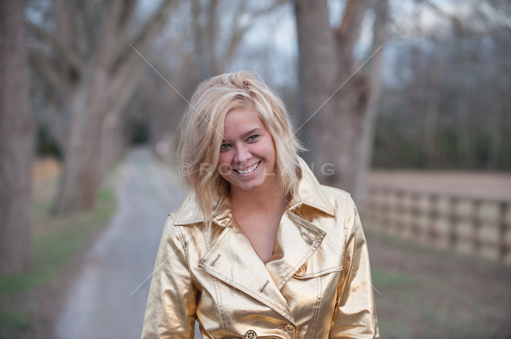 blonde girl outdoors on a country road